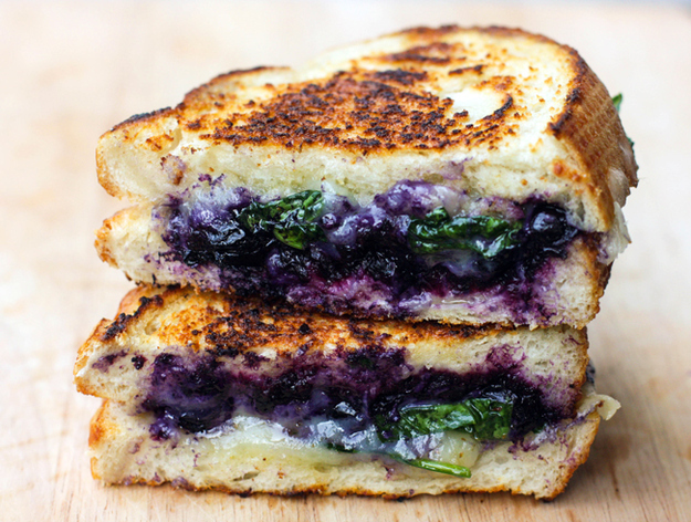 Balsamic Blueberry Grilled Cheese -  Roses are red, this amazing sandwich masterpiece is blue.