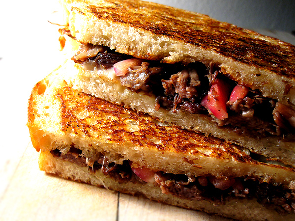 Pulled Short Rib Grilled Cheese with Pickled Red Onions -  This sandwich will always let you have control of the Netflix.