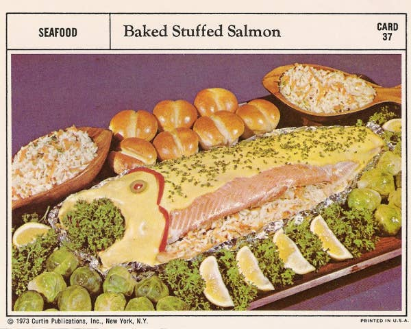21 truly upsetting vintage recipes 19 baked stuffed salmon forumfinder Choice Image