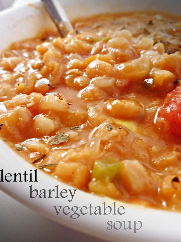 12. Crock Pot Lentil Vegetable Barley Soup