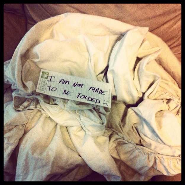 They should never be asked to fold fitted sheets.