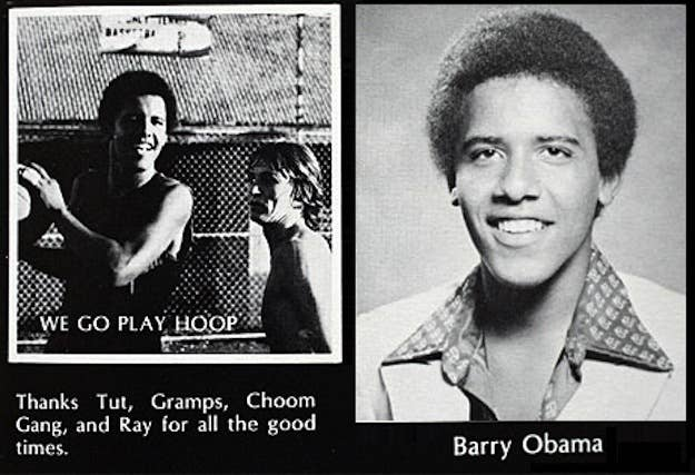 """Growing up in Hawaii, Barack Obama belonged to a group of friends who were known as the """"Choom Gang."""" Choom is a verb which means """"to smoke marijuana."""" According to David Maraniss' book Barack Obama: The Story, the young Obama popularized a smoking trend known as """"TA"""" (short for """"total absorption"""") and """"roof hits,"""" where the group would smoke with all the car windows rolled up to not let any smoke escape. Obama was also known to cut into other people's turn when a joint was being passed around and yelling """"interception."""""""
