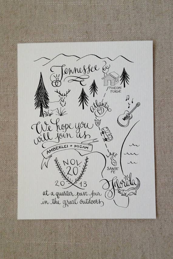 The 25 Most Beautifully Illustrated Wedding Invites Draw Map For Wedding Invitation on
