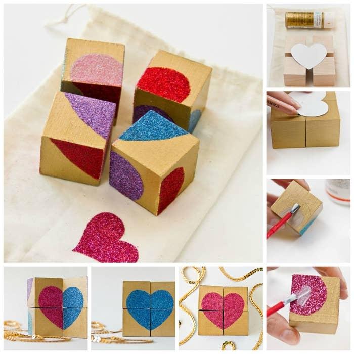 40 Glittery Heart Block Puzzle
