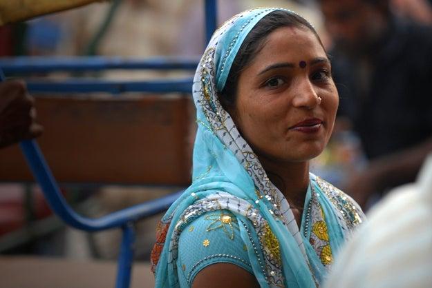 3. Woman in Delhi, India.