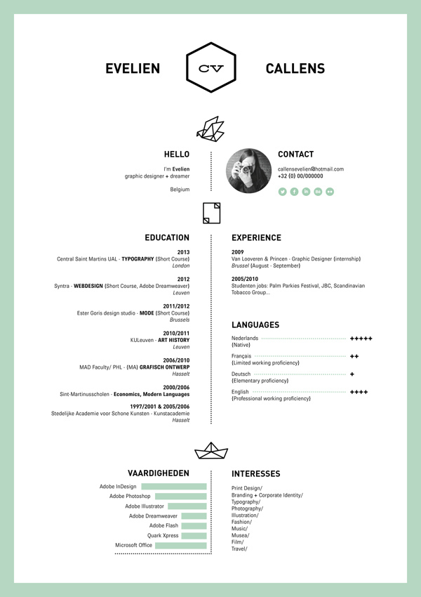 Perfect The One Color Résumé: Pertaining To Cool Resume Layouts
