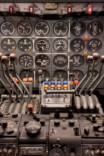 Cockpit controls of a Boeing 707