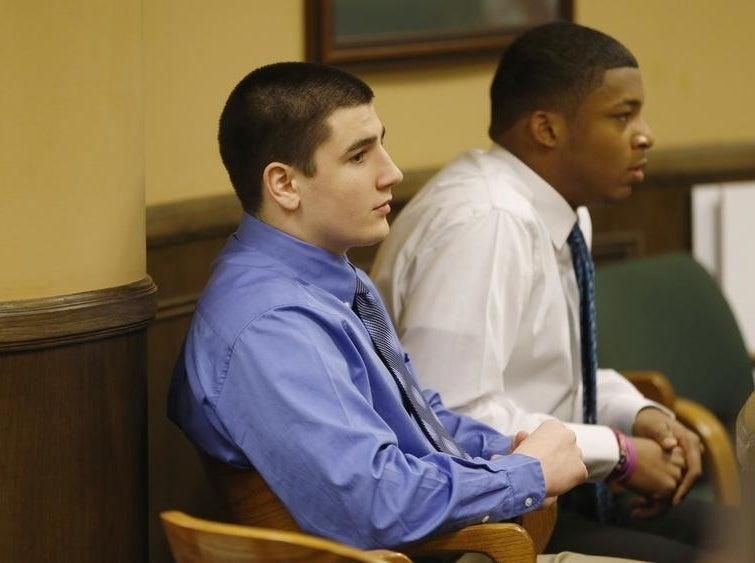 Trent Mays (L) and Ma'lik Richmond (R) sit in juvenile court in March.