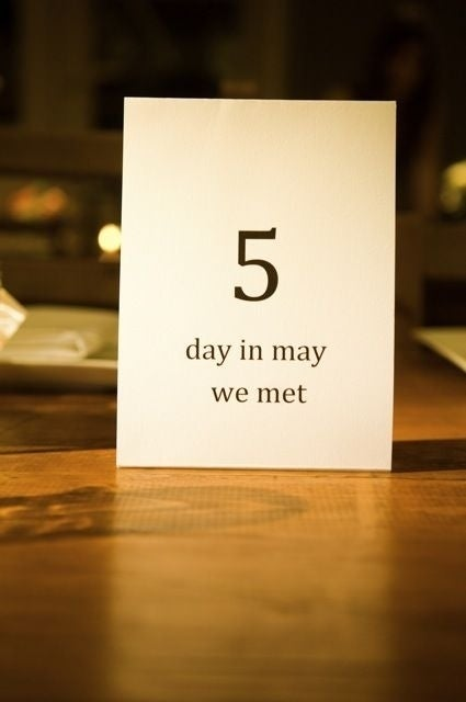 """For our wedding table numbers, we decided to pick numbers that are significant to us. so we did the day we met (5), the day we tied the knot (7), each of our lucky numbers (4 & 14), our combined height in inches (132), how many miles from our house to the beach (15), and a few others.""[source: Tulips and Flight Suits]"