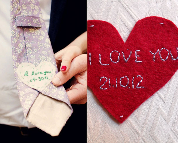 26. Surprise the groom with a hidden message on the back of his tie.