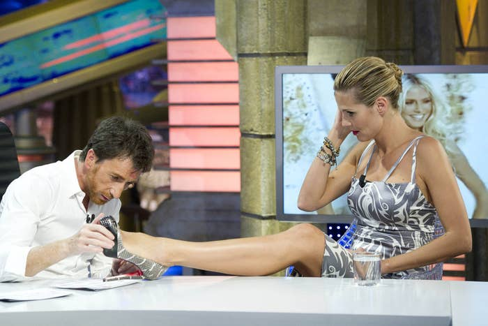 Her legs are so important sometimes she has to whip 'em out on crazy Spanish talk shows.