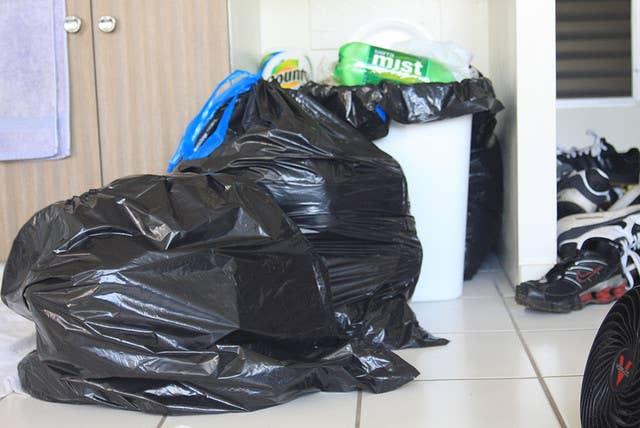 No obtienes puntos por sacar la bolsa fuera del bote. En realidad tienes que eliminarla de todo el apartamento.
