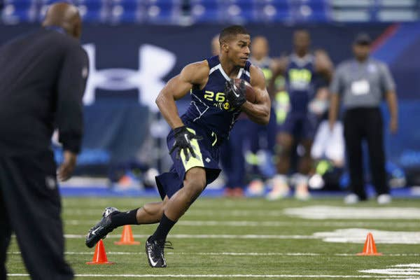 Sankey finished the combine looking like the top running back in his class. The former Husky finished in the top five at his position with 26 reps on the bench press, a 10-foot-6-inch broad jump, a 4-second short shuttle, and a 4.49-second time in the 40-yard dash.No wonder he racked up 1,870 yards rushing and 21 total touchdowns for the Huskies.