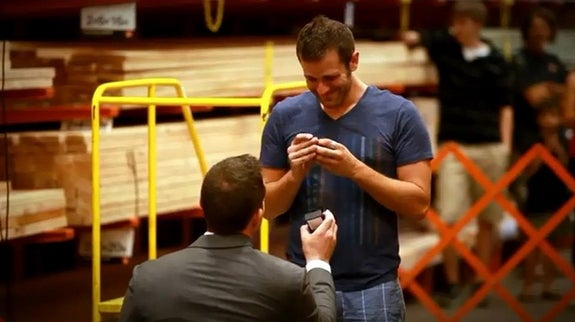 Hit 'em when they least expect it. Spencer proposed to Dustin while he was obliviously shopping for lumber at Home Depot with his roommate.
