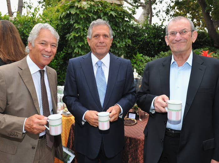 Ken Ziffren, right, with attorney Larry Stein, and CBS President & CEO Leslie Moonves in July.