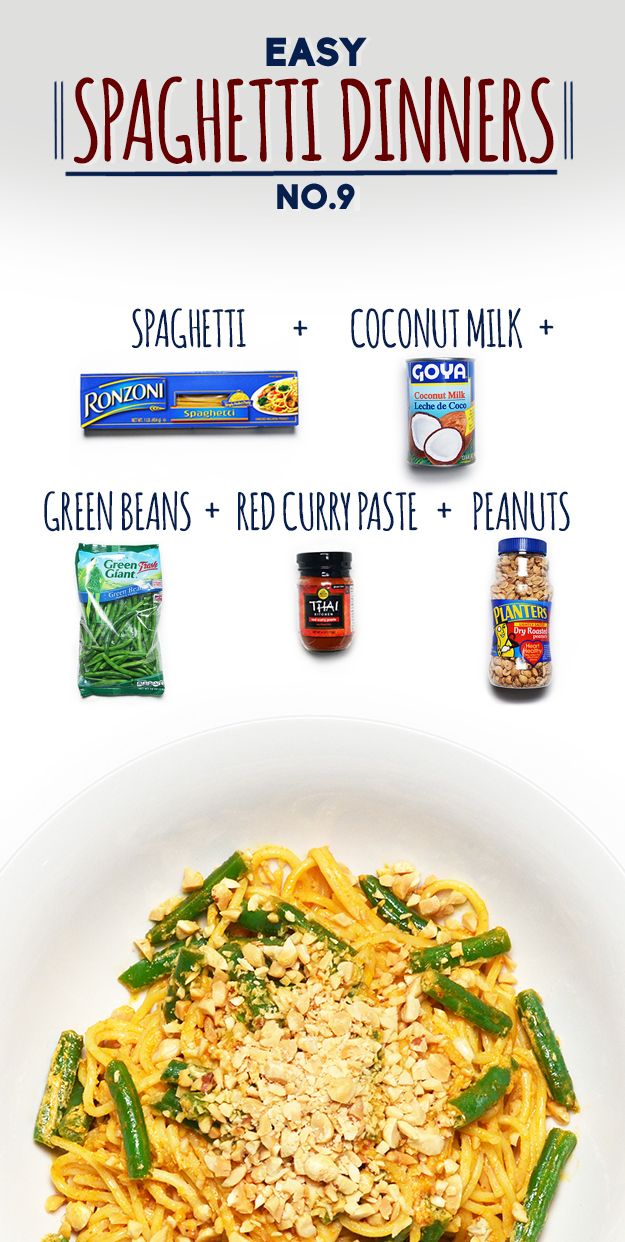 How To Make Spaghetti With Red Curry, Green Beans And Peanuts