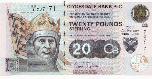 This is Robert the Bruce. He was King of Scots from 1306 - 1329 leading them to independence from the English in 1328. He is currently seen on Scottish banknotes instead of the Queen. The Scots should keep him there.