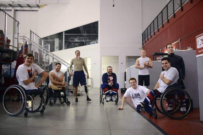 These eight guys are part of the U.S. Paralympic sled hockey team. They took home gold in the last Paralympic Winter Games and are hoping to repeat in Sochi.