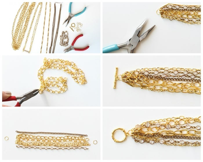 """Materials: gold chains in various styles and sizes of chain links (the bracelet shown used a total of six different types of chains and one style of crystal chain with the crystals encased in gold, often referred to as a Chanel chain), 2 10mm gold jump rings, gold loop and toggle closure, jewelry pliers and wire cutters (if you don't already have these, all craft stores carry a decent line of jewelry making tools which are just a few dollars).Step 1: Cut all your chains according to desired wrist size. The bracelet shown used 6.25""""-long chains. You want it to fit around your wrist and leave a bit of room to hang nicely. Andrea also used two lengths of the crystal chain for added sparkle, plus one of each of the six other chains for a total of eight chains. Adding in one chain with an antique gold finish in contrast to the shiny gold finish will add some depth to the bracelet.Step 2: Once all your chains are cut, line them up in the order you choose, and attach them individually to your jump ring. If your jump rings come closed, as some do, gently pry them open by sliding them apart, as opposed to pulling them apart. This will make it easier to close it back together.Step 3: Once all your chains are attached to the jump ring, attach the jump ring to each end of the loop and toggle closure, and using your pliers, gently close your jump rings on either side. Your bracelet is now complete! This will take you about 20 minutes to assemble, and cost about 1/3 the original $38 price, including the fancy Swarovski crystal chain."""