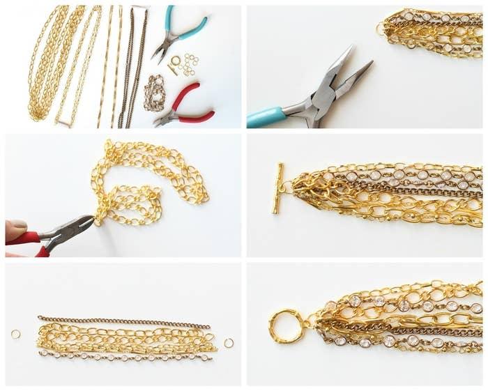 Materiales: cadenas doradas con diferentes diseños y tamaños de eslabones (para el brazalete de la fotografía se usó un total de seis tipos diferentes de cadenas y un diseño de cadena de cristal con los cristales incrustados en oro, la cual a menudo es referida como cadena de Chanel), 2 anillos de engarce dorados de 10 milímetros, un aro dorado y un cierre de barrita, alicates para joyas y cortadores de alambre (si aún no tienes éstos últimos, todas las tiendas de artesanía ofrecen una línea aceptable de herramientas para trabajos de joyería por solo unos cuantos dólares).Paso 1: Corta todas tus cadenas según el tamaño de muñeca deseado. Para el brazalete de la fotografía, se usó cadenas de 6.25 pulgadas de largo. Lo mejor es que se acomode a tu muñeca, y que dejes un poco de espacio para que cuelgue bien. Andrea usó dos tramos de cadenas de cristal para añadir brillo, y cada una de las otras seis cadenas para sumar un total de ocho cadenas. El agregar una cadena con un acabado de oro antiguo en contraste con el oro brillante dará algo de intensidad al brazalete.Paso 2: Una vez que tus cadenas estén cortadas, las alineas en el orden que tú escojas, y las sujetas individualmente al anillo de engarce. Si tus anillos de engarce vienen cerrados, como algunos lo hacen, suavemente haz palanca para abrirlos deslizándolos, en lugar de jalarlos para que se abran. Esto hará que se vuelvan a cerrar más fácil.Paso 3: Una vez que todas tus cadenas estén sujetadas al anillo de engarce, sujeta ambos anillos, uno con el aro y el otro con la barrita de cierre, y usando tus alicates, cuidadosamente cierra tus anillos de engarce en ambos lados.¡Ahora tu brazalete está terminado! Te tomará alrededor de 20 minutos ensamblarlo, y cuesta aproximadamente 1/3 del precio original de 38 dólares, lo que incluye la elegante cadena de cristal de Swarovski.