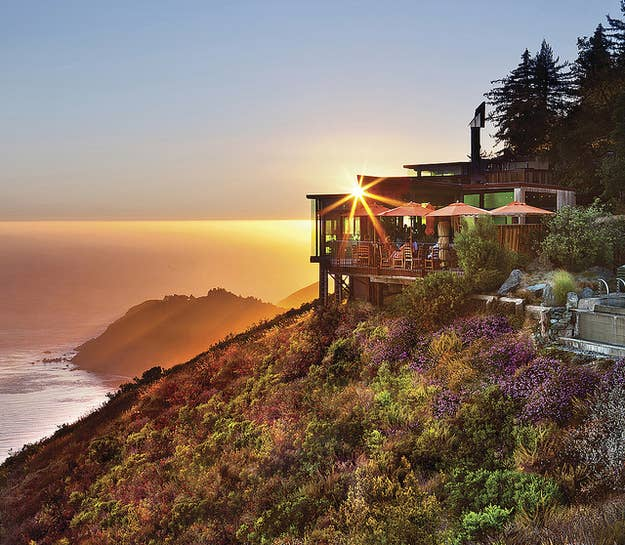 You're sitting: on top of a cliff At: Post Ranch InnLooking at: the Pacific Ocean Ordering: the nine-course Taste of Big Sur tasting menu