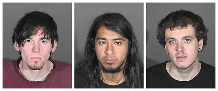 Jonathan Carl Jarrell (L), Steven Robert Aguirre (C) and Clifford Eugene Henry Jr. are seen in a combination picture of Glendora Police Department booking photos released in Glendora, Calif. on Jan. 16.