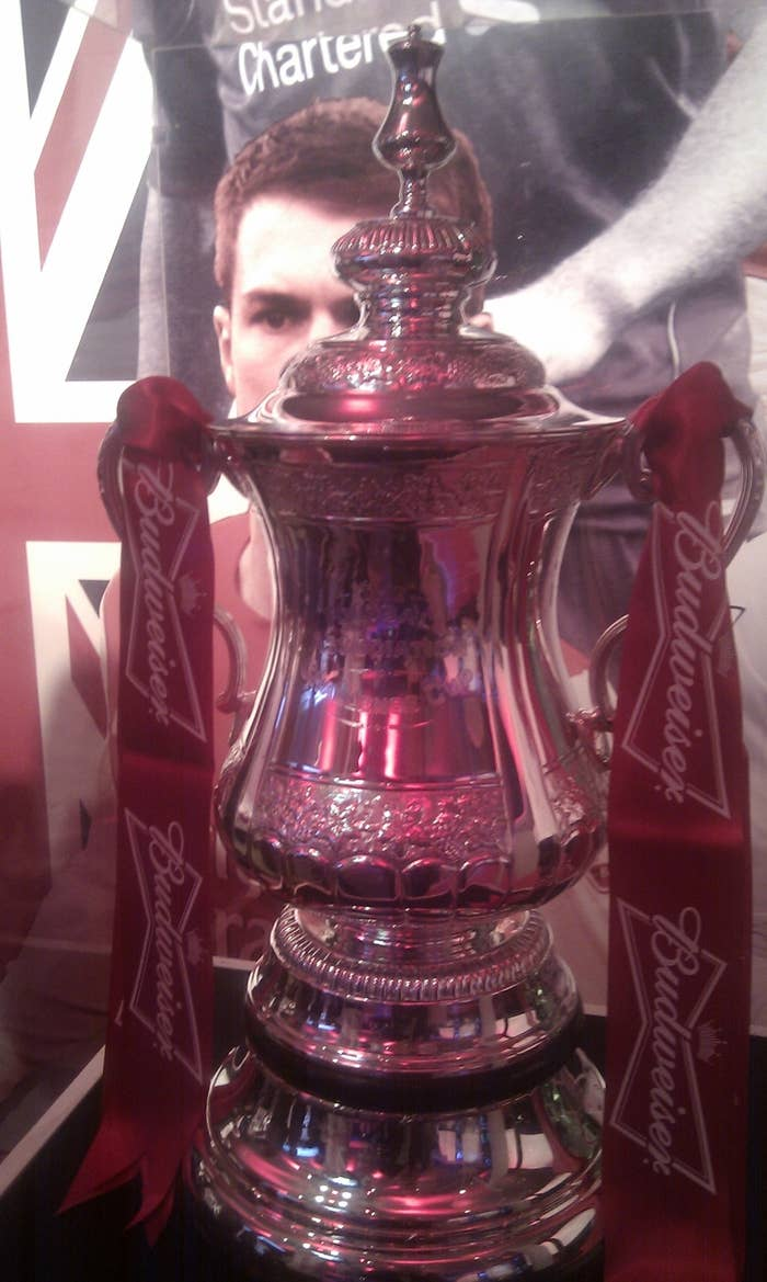 35) There have been 4 versions on the FA Cup trophy used since the beginning of the competition.36) The first ever trophy was stolen in 1895 from its display in a football outfitters store, a £10 reward (adjusted for inflation that would be worth just over £1,000) was offered for it but it was never recovered.37) Numbers were first used on the back of shirts in an FA Cup final in 1933.38) In the 1898 team photos before the game, Nottingham Forest had to borrow Derby shirts as the contrast of colour looked better in the black and white photo.39) Before 1882 football posts did not have a crossbar; so goals were accepted if they passed between the two posts at a reasonable height.40) It was not until 1890 that nets were introduced to football posts to prevent a loss of time from goalkeepers chasing after the ball.41) In 1967 the first substitutes were allowed to play in order to prevent unfair advantages if opponents had injured squads.42) Before this players suffered with broken bones in the finals of 1957, 1959, 1960, 1961 and 1965 which was branded poor sportsmanship for the other team to have more men.