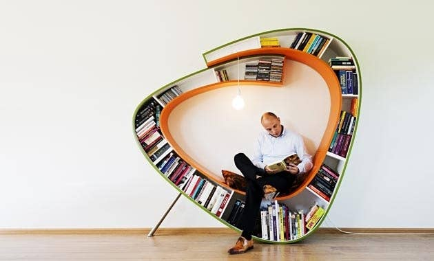 About the only thing the bookshelf-chair-light hybrid Boekenwurm from Atelier 010's missing is a working toilet. Because even though nature calls, so does Elizabeth Bennet, am I right?!RELATED: Treat yoself to some natural reading light with an easy-to-build window seat