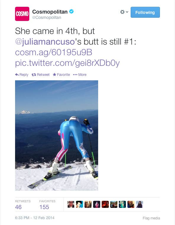 """Come on Cosmo! How did you let this happen? This is an Olympic athlete! Someone who has worked their entire life to compete for the United Sates of America in the greatest sporting event of all time. And not only do you objectify her as """"just a nice ass"""" but you diminish the fact that she placed top 5 in the world! #SMH"""
