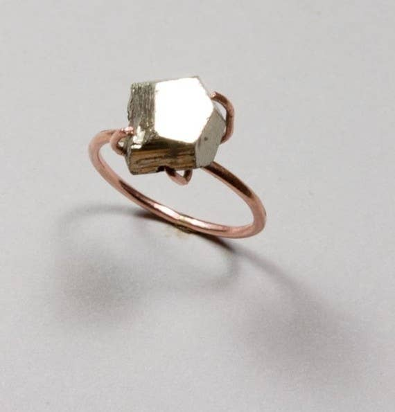 14k pink gold and pyrite ring 225 - Wedding Rings Without Diamonds