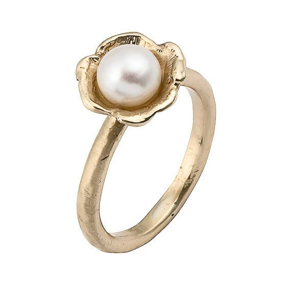 14k gold and pearl ring 475 - Wedding Rings Without Diamonds