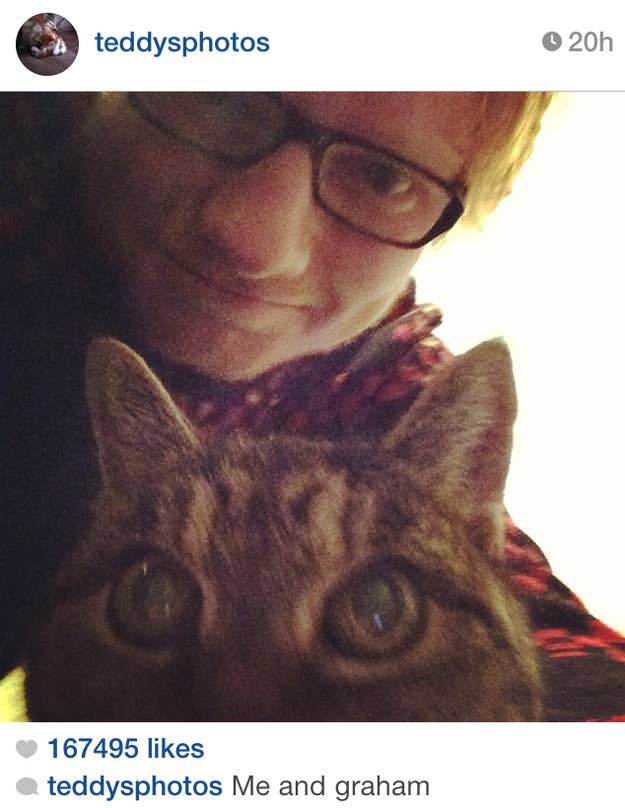 Ed adopted this one month old kitten after he learned that he would be put to sleep if he was not adopted. Then he proceeded to love Graham unconditionally and even give him his own twitter account. Follow graham @GrahamShizza