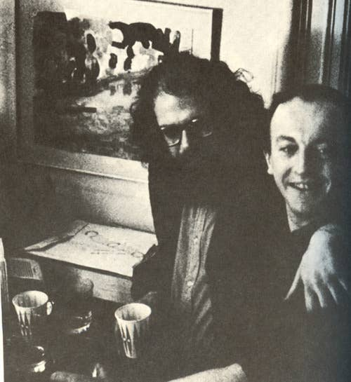 "Allen Ginsberg and Frank O'Hara""I don't think you're going to find this very healthy and clear, but I really would like to stop working forever — never work again, never do anything like the kind of work I'm doing now — and do nothing but write poetry and have leisure to spend the day outdoors and go to museums and see friends."" — Allen Ginsberg""I am the least difficult of men. All I want is boundless love."" — Frank O'Hara, Meditations in an Emergency"