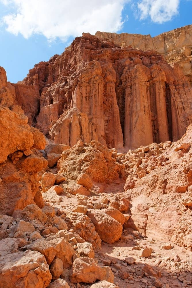 This towering natural structure can be reached by a dirt road just north of Israel's bustling sea-meets-desert town of Eilat. The walk includes sifting through dried-out waterfalls and an ancient copper mine, and its peak provides stunning views of the Negev desert below.