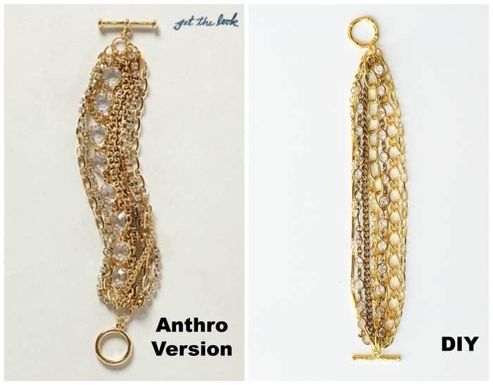 """Un brazalete grueso de cadenas hace que cualquier conjunto sea vea un poco más elegante. Andrea de """"Four Flights of Fancy"""" creó esta versión """"hazlo tú misma"""" del original de Anthros."""