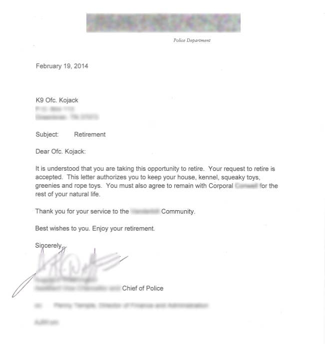 This is the adorable resignation letter a police dog named kojack this is k 9 officer kojacks retirement letter he was issued this official and wonderful document on wednesday according to his human partner thecheapjerseys Image collections