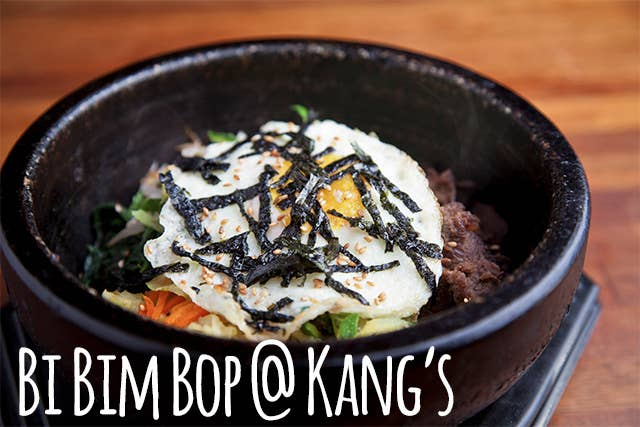 NOTHING, NOTHING is more comforting than a hot stone bowl BiBimBop at Kang's, topped with a perfect runny egg, and doused in gochujang, glorious Korean hot sauce.