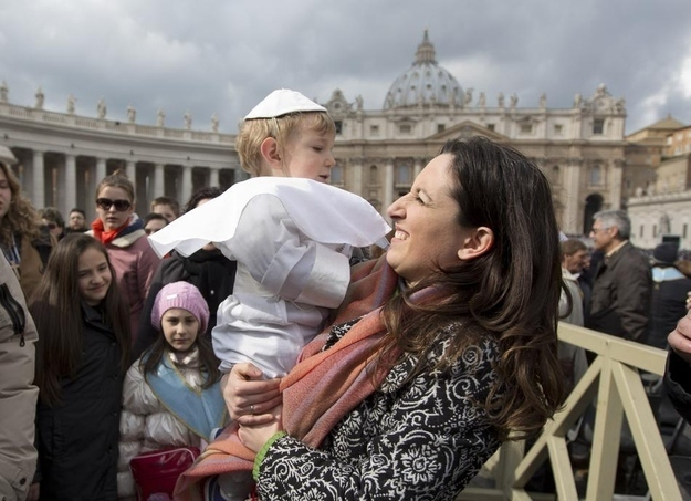 "Nineteen month-old Daniele De Sanctis' grandmother made the costume for him, his mother told the Associated Press. ""It was a gesture of love toward the Holy Father."""