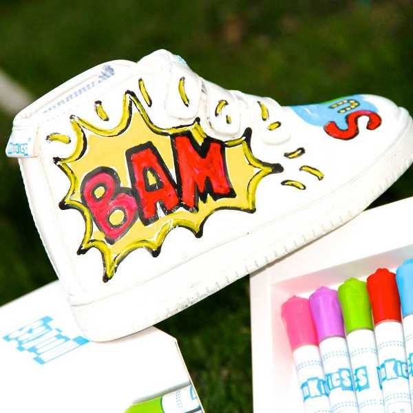 How awesome are those? Monkies shoes are white, and come with a selection of colourful waterproof markers. You or your kid draws all over them, then if they fancy a change, simply wipe off with a sponge and start again!