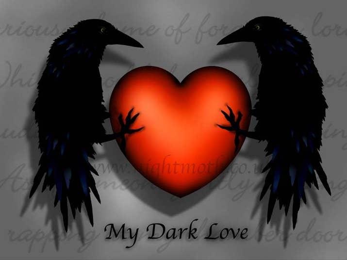 Goth Love Birds Valentines Card
