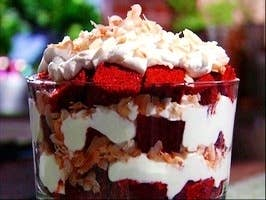 This is a quick and easy dessert that you can prepare for last minute preparation or unexpected guests. This recipe takes a store-bought red velvet cake and steps it up a few notches. For an intimate Valentines treat, use smaller glasses or cups to build your trifle.