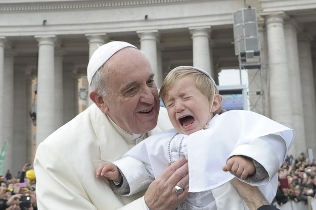 Pope Francis met an adorable baby pope as he arrived at his weekly general audience at the Vatican on Wednesday.