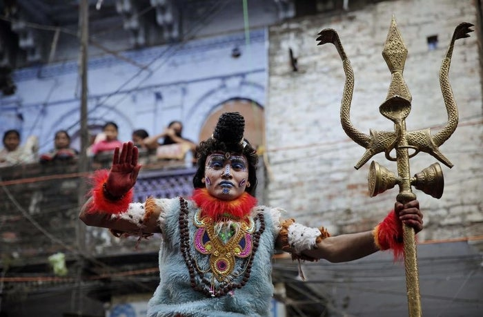 A devotee dressed as Lord Shiva during a religious procession for Mahashivratri in the northern Indian city of Allahabad on Feb. 27.