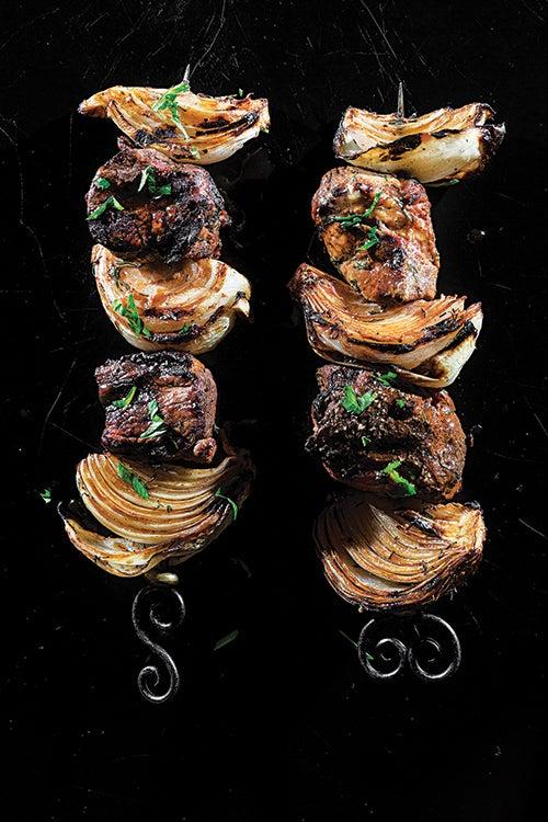 Russian lamb kebab with tomato-prune sauce. Recipe here.