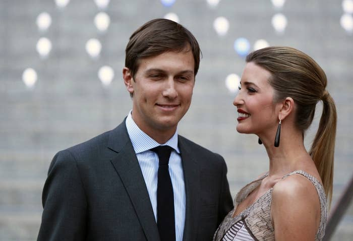 Ivanka Trump arrives with husband, Jared Kushner, at the Vanity Fair party to begin the 2012 Tribeca Film Festival in New York, April 17, 2012.