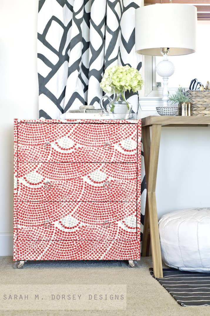 Use fabric or paint for a faux mosaic look. 99 Clever Ways To Transform A Boring Dresser