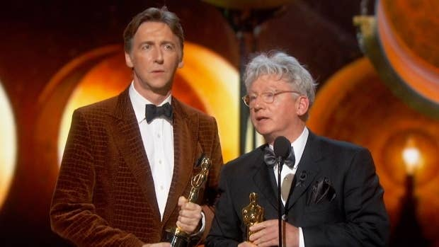 """The Lady in Number 6: Music Saved My Life won the Oscar for Best Documentary Short. The documentary featured Alice Herz-Sommer, the oldest living Holocaust survivor, who passed away one week prior to the Academy Awards ceremony at the age of 110. Malcolm Clarke, who co-directed the film with Nicholas Reed (left), dedicated the award to Herz-Sommer's memory and spirit.""""She was a woman who taught everyone on our crew to be a little bit more optimistic and a little bit more happy about the things going on in our lives. See the film; she'll help you live a much happier life.""""-Malcolm Clarke"""