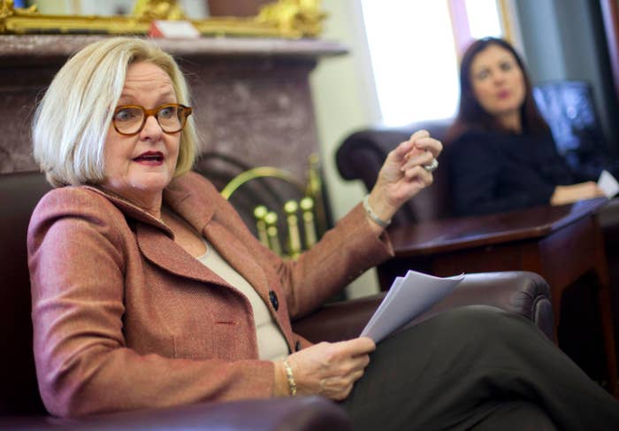 Sen. Claire McCaskill, left, talks with reporters on Capitol Hill about her bill, which passed over Gillibrand's, to curb rapes and sexual assaults in the military.