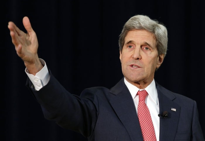 U.S. Secretary of State John Kerry speaks about Ukraine during a town hall at the State Department in Washington March 18, 2014.