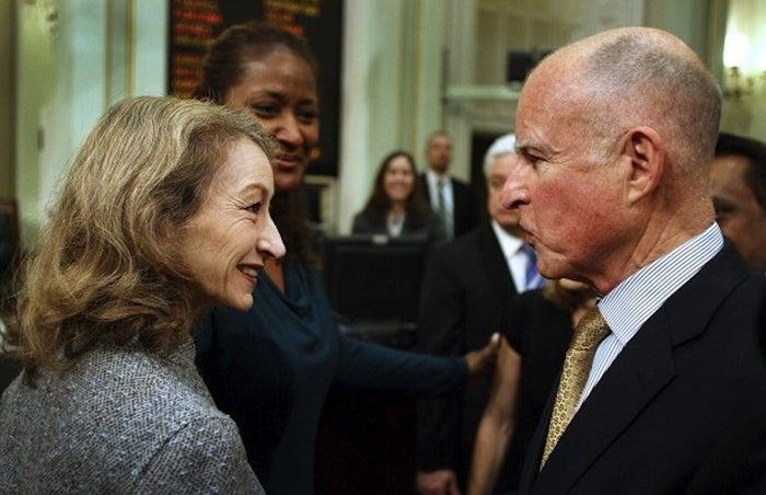 California Secretary of State Debra Bowen with Gov. Jerry Brown in January 2012.